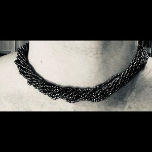 "Jewelry - Black Aurora Borealis Microbead Choker 15"" Sweet"